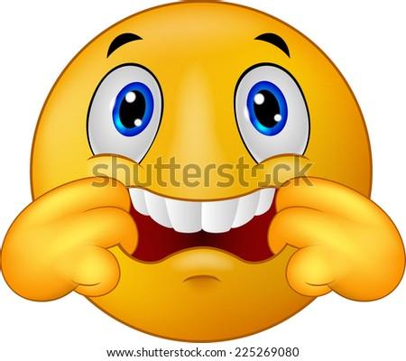 Emoticon smiley making a teasing face - stock vector