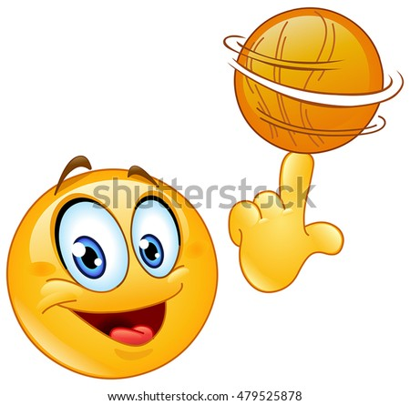 Emoticon spinning a basketball on his finger