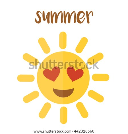 emoticon sun in the summer - stock vector