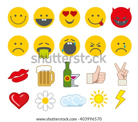 Emoticon vector icons set with thumbs up, chat, heart and other icons. Angry smiley, funny smiley, barf face smiley illustration - stock vector