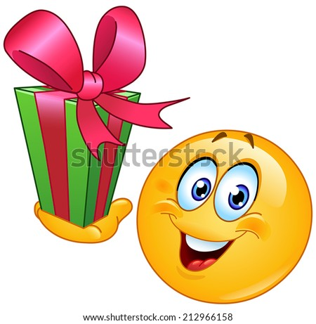 Emoticon with gift - stock vector