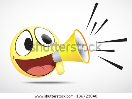 Emoticon with Loudspeaker - stock vector