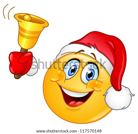 Emoticon with Santa hat ringing Christmas bell - stock vector