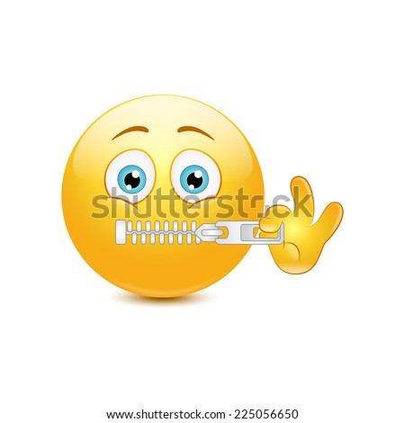 Emoticon zipping on a white background. Vector - stock vector