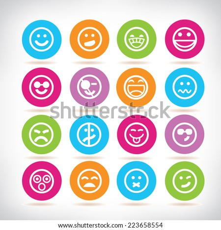 emoticons, colorful circle buttons set - stock vector