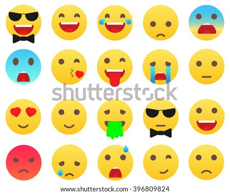Emoticons Modern Biggest set. Emoticons vector illustration. Emoticons isolated on white background.  - stock vector