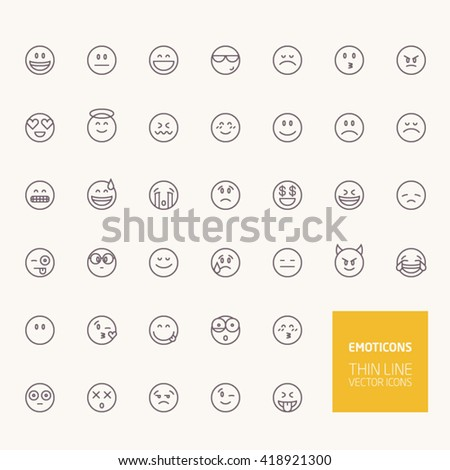 Emoticons Outline Icons for web and mobile apps - stock vector