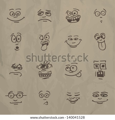 Emoticons - sketch on a crumpled paper - stock vector