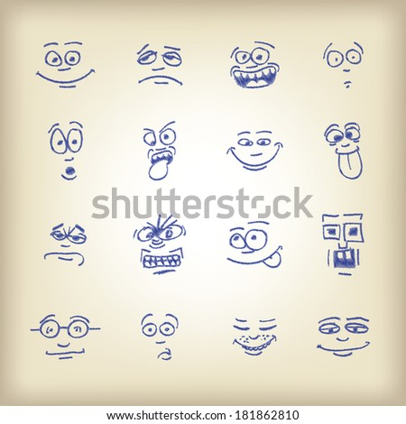 Emoticons - sketch on an old paper - stock vector
