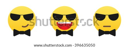 Emoticons with sun glasses and black bow tie. Emoticons set.  - stock vector