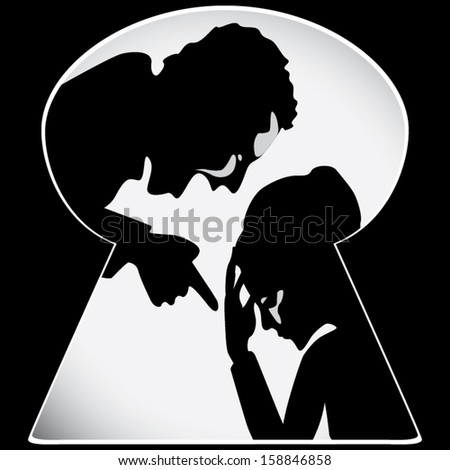 Emotional abuse concept vector - stock vector