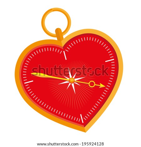 Emotional compass. A heart-shaped compass. Follow your heart. - stock vector