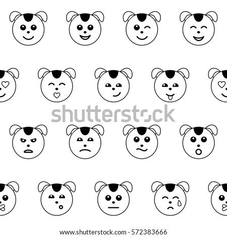 Emotional dog face outline seamless pattern stock vector for Dog face coloring page