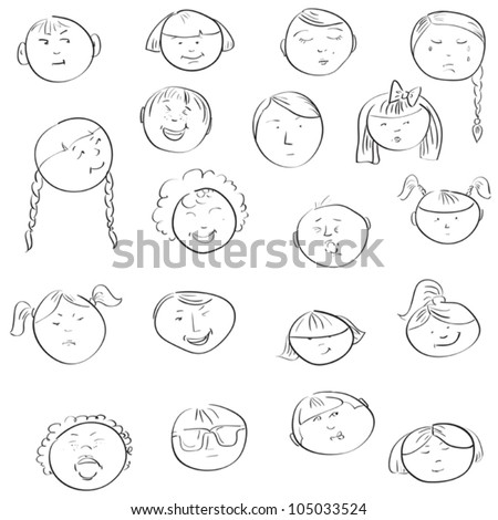 Emotional doodle faces of children in outlines - stock vector