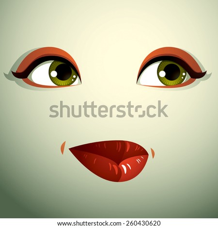 Emotional expression on the face of a cute girl. Beautiful sad and dreamy woman with a modern makeup. - stock vector