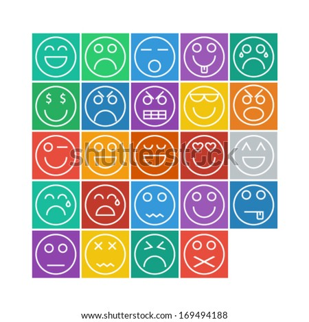Emotional Face Icon Set - Vector Illustration - stock vector