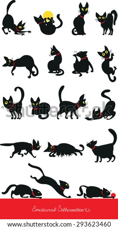 Emotional funny silhouettes of cats.
