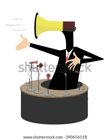 Emotional speech. Man with a megaphone instead of head makes an emotional speech  - stock vector