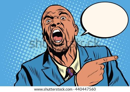 Emotional strong black man pointing finger, an African American businessman pop art retro vector - stock vector