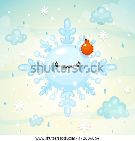Emotional weather, melted snowflake with thermometer, normal temperature, children's illustration, cartoon style, vector. - stock vector