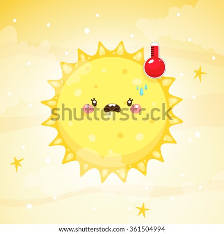 Emotional weather, thermometer with high temperature and the hot Sun, children's illustration, vector. - stock vector