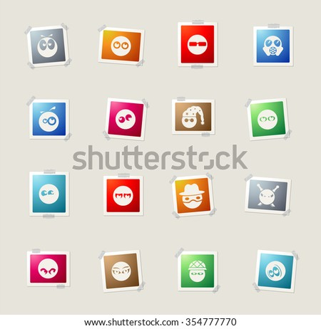 Emotions and glances card icons for web - stock vector