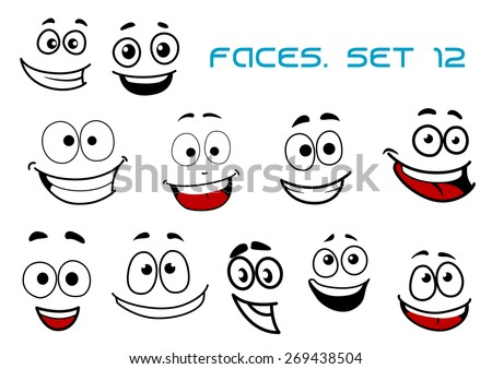 Emotions faces in cartoon style showing happy, joy, fun, glee, laugh isolated on white background suited for avatar, caricature or comics design - stock vector