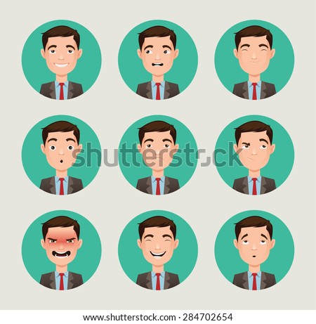 emotions faces vector characters - stock vector