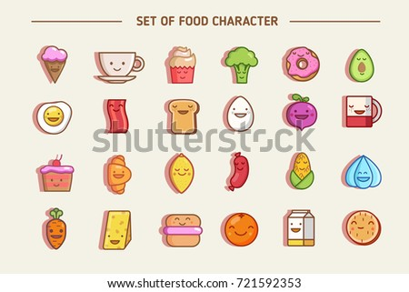 Emotions fruit and vegetables characters isolated vector. Flat vector icons set