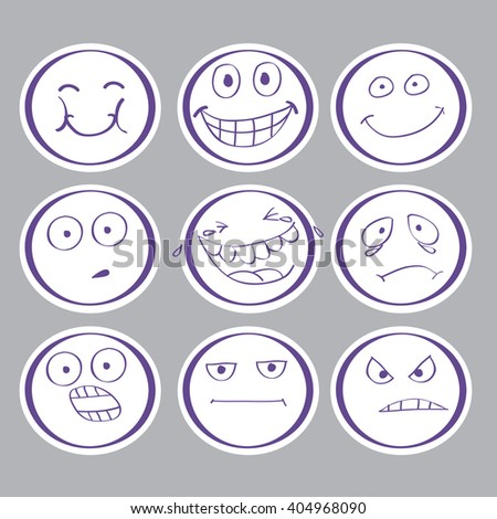 emotions hand-drawn avatars. vector. EPS10.