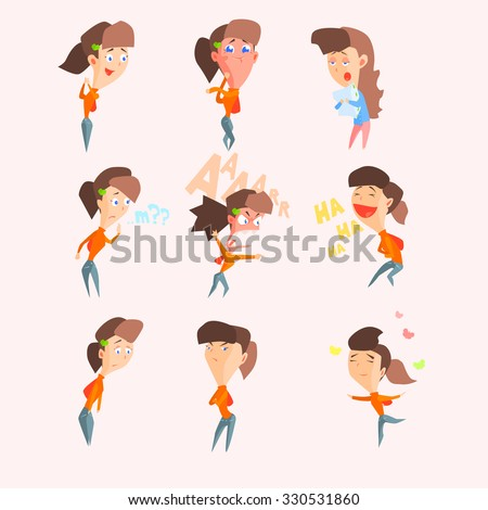 Emotions of women, set of flat vector illustrations - stock vector