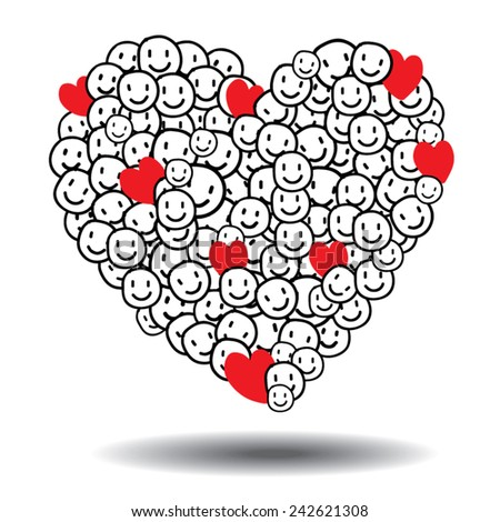 emotions smile heart love happy vector Valentine day , EPS 10 - stock vector