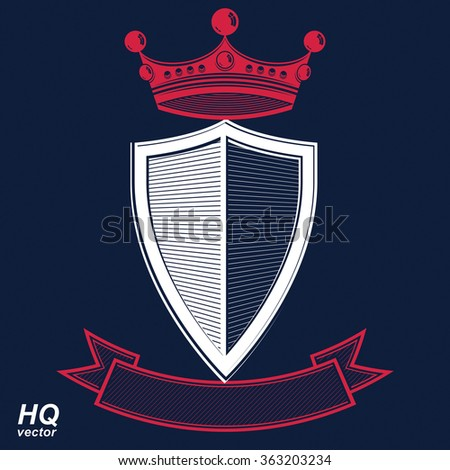 Empire design element. Heraldic royal coronet illustration, imperial striped decorative coat of arms. Luxury vector shield with king red crown and undulate festive ribbon.  - stock vector