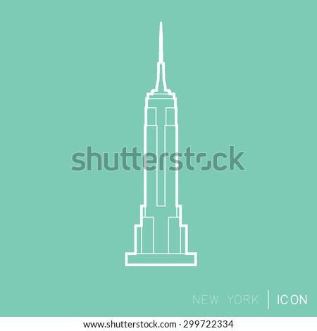 Empire Statae Building line icon - stock vector