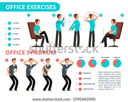 Employee Doing Office Exercises Desk Medical Vector Diagram With Cartoon People Infographic Syndrome