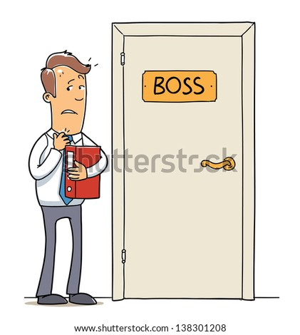 employee near a boss door, stressed office worker with document folder. Cartoon illustration isolated on white background - stock vector