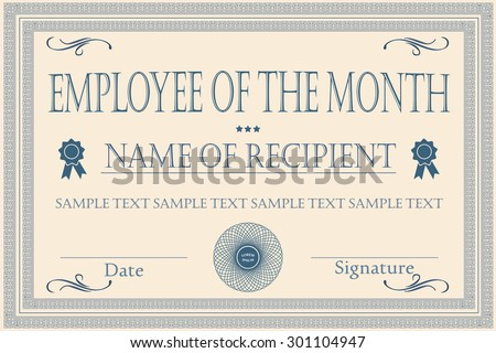 Employee Of The Month Images RoyaltyFree Images Vectors – Free Employee of the Month Certificate Template