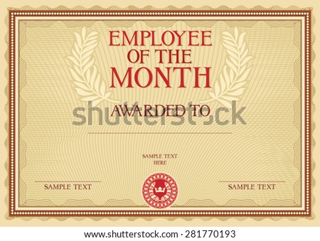 Employee Month Certificate Template Stock Vector 281770193 ...