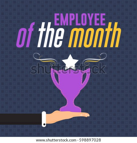 Employee Of The Month Quotes Classy Employee Month Concept Flat Style Illustration Stock Vector