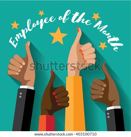 Employee of the month thumbs up poster flat design. EPS 10 vector. - stock vector