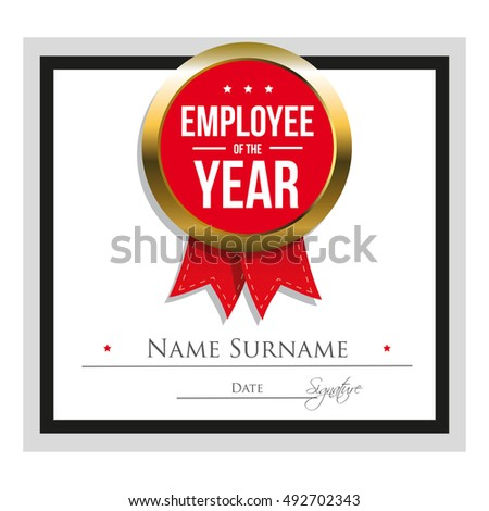 Employee year certificate template stock vector 492702343 employee of the year certificate template yadclub Choice Image