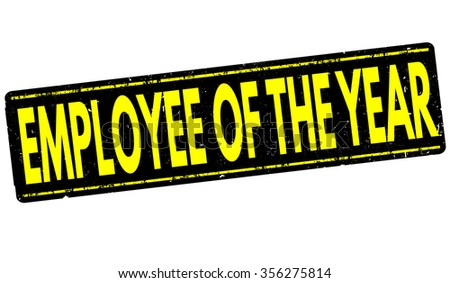 Employee of the year grunge rubber stamp on white, vector illustration