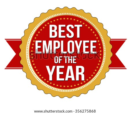 Employee of the year label or stamp on white background, vector illustration - stock vector