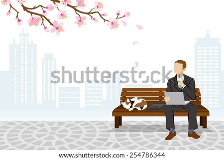 Employee sitting on a bench Spring Time -EPS10 - stock vector
