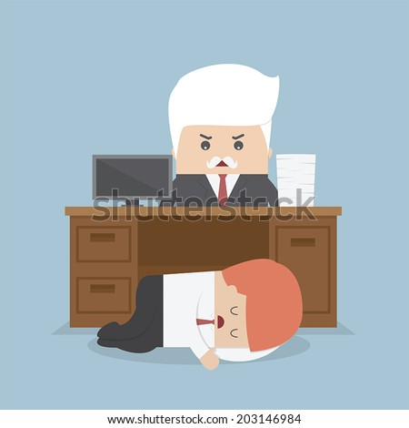 Employee sleeping under his desk and angry boss, VECTOR, EPS10 - stock vector