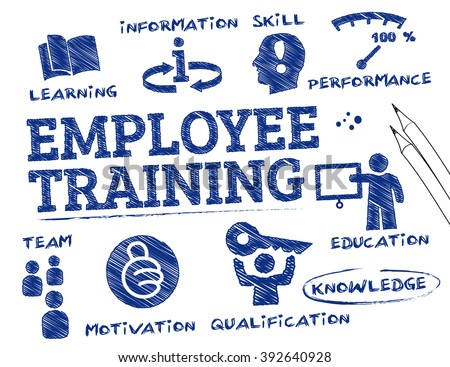 employee training. Chart with keywords and icons - stock vector