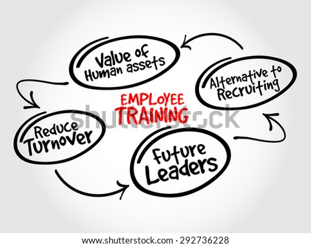 Employee training strategy mind map, business concept - stock vector