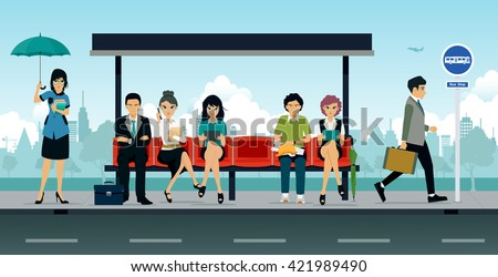 Employees and people were sitting at the bus stop. - stock vector