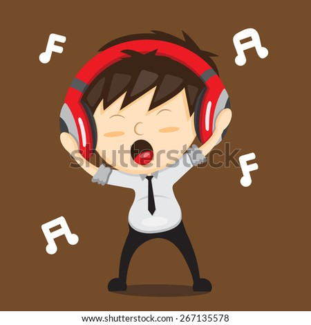 Employees are listening and dancing with headphones. - stock vector