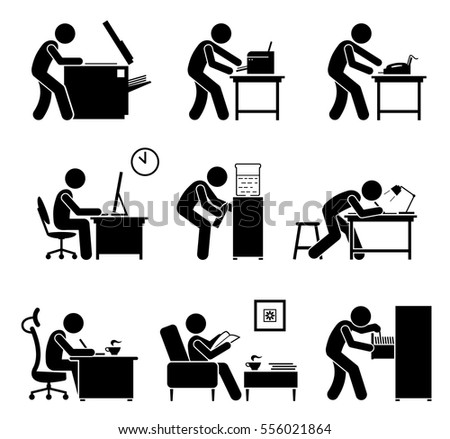 Employees Using Office Equipments Workplace Worker Stock